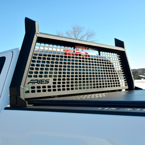 Aries AdvantEDGE Headache Rack Pickup Truck Cab Window Guard, Black