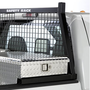 BackRack Safety Rack Cab Window Guard Headache Rack with Toolbox Mount Kit for Pickup Trucks