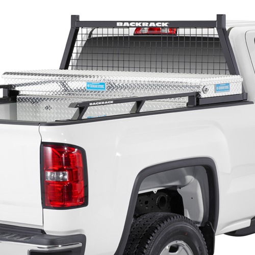 BackRack Safety Rack Cab Window Guard Headache Rack with Toolbox Kit