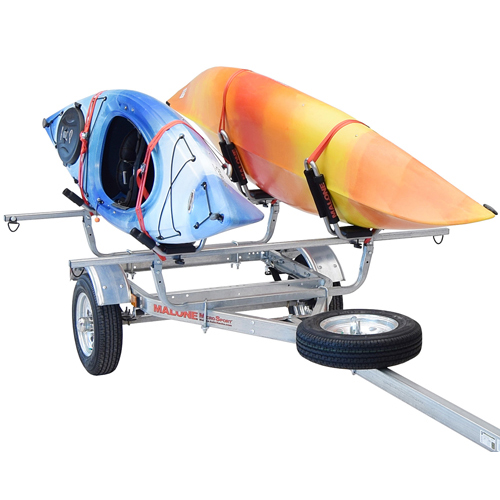 Malone MicroSport Trailer mpg461g2 with Spare Tire, J-Pro 2 Kayak Carriers