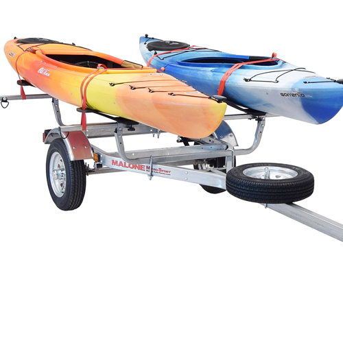 Malone MicroSport Trailer mpg461gs with Spare Tire Kit, 2 SeaWing Kayak Carriers