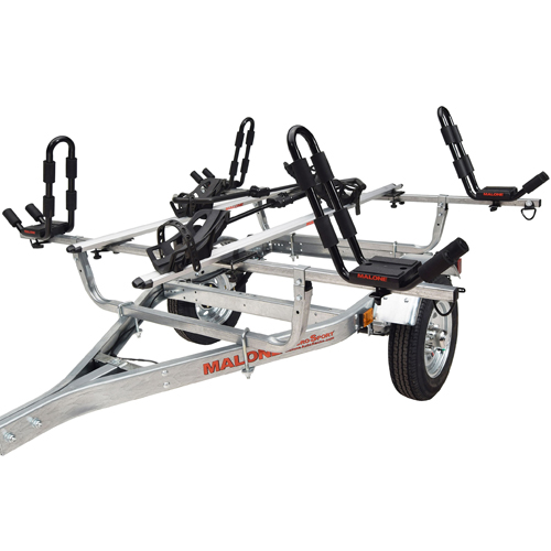Malone MicroSport Trailer mpg461kb with Spare Tire Kit, 2 J-Pro2 Kayak Carriers, 2 Upright Bike Racks