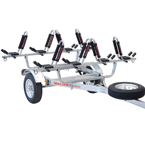Malone mpg462g2 MicroSport 78 Trailer, Spare Tire Kit, 4 J-Pro II Kayak Carriers