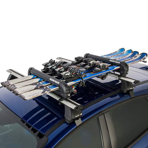 Rhino-Rack 574 Black Locking 4 Pair Ski Rack, 2 Snowboard Carrier, Fishing Rod Holder