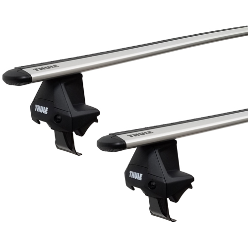 Thule Ford Focus 4dr 2012 - 2018 Complete Evo Clamp Roof Rack with Silver WingBars