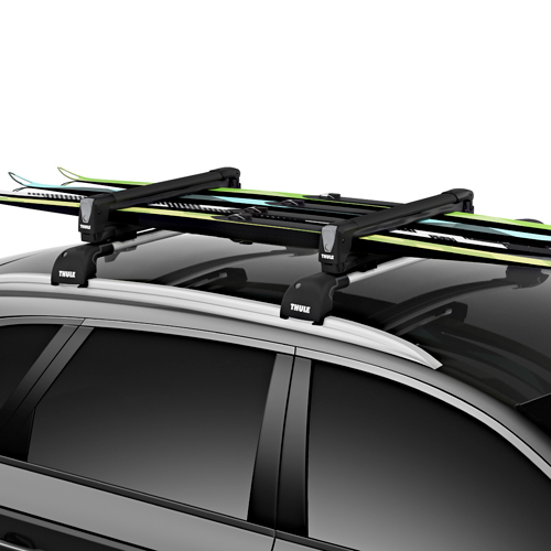Thule 7324B SnowPack M 4 Pair Ski Racks 2 Snowboard Carriers, Black