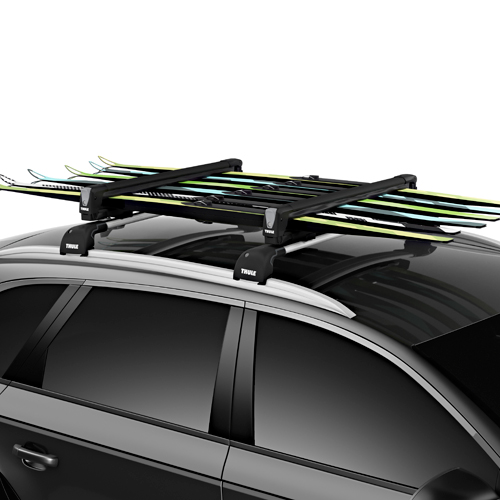 Thule 7326B SnowPack L 6 Pair Ski Racks 4 Snowboard Carriers, Black