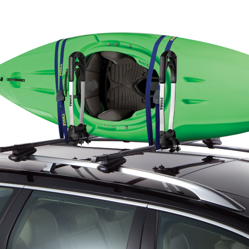 Thule 830 Fold Down Kayak Stacker with Tie Down Straps for Car Roof Racks
