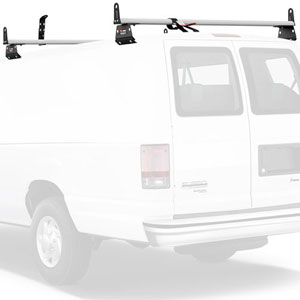 Vantech 2 Bar Aero Utility Ladder Van Rack Aluminum, Side Stops H3016