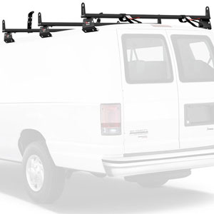 Vantech 3 Bar Aluminum Aero Utility Ladder Van Rack, Side Stops H3017
