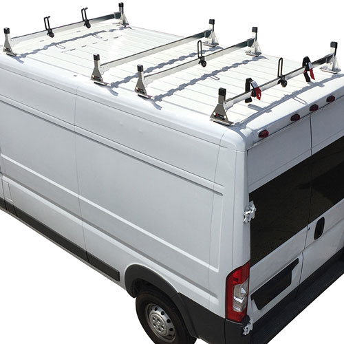 Vantech Dodge Ram ProMaster Van 2013+ Stainless Steel 4 Bar Utility Ladder Racks H1364