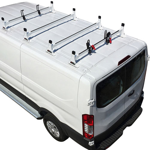 Vantech H1724 Ford Transit Cargo Van 2015+ Steel 4 Bar Ladder Rack