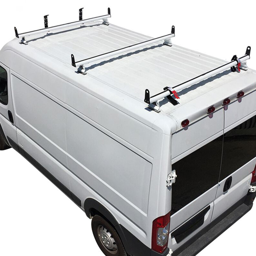 Vantech Dodge Ram ProMaster 2013+ Aluminum 3 Bar Utility Ladder Van Rack, Side Stops H3553