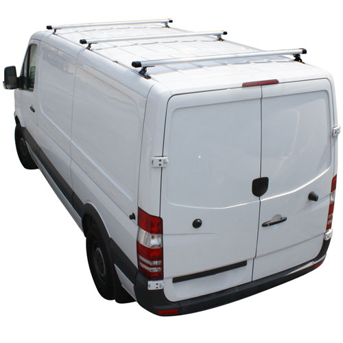 Vantech H3316 Sprinter Van 2007+ Aluminum 65 3 Bar Utility Ladder Rack, End Caps