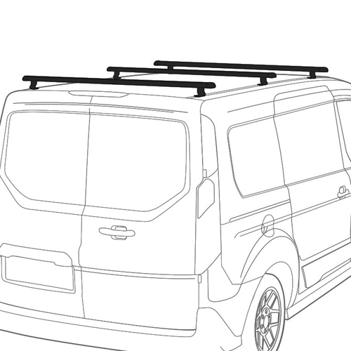 Vantech J1203 Ford Transit Connect 2014+ 50 Aluminum 3 Bar Aero Utility Ladder Racks