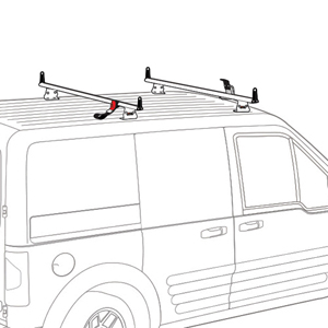 Vantech Ford Transit Connect 2008-13 Aluminum 2 Bar 55 Utility Ladder Rack, Side Stops J2055