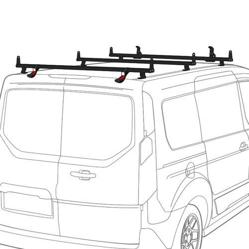 Vantech J2203 Ford Transit Connect 2014+ Aluminum 3 Bar 50 Aero Utility Ladder Rack, Side Stops