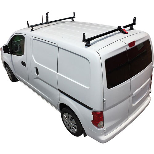 Vantech J2510 Nissan NV200 Aluminum 2 Bar Aero Utility Ladder Rack, Side Supports