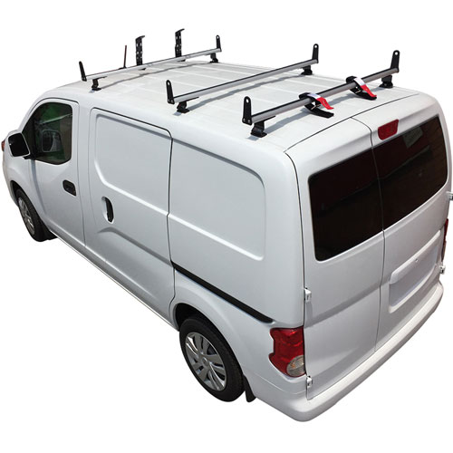 Vantech J2520 Nissan NV200 Aluminum 3 Bar Aero Utility Ladder Rack, Side Supports
