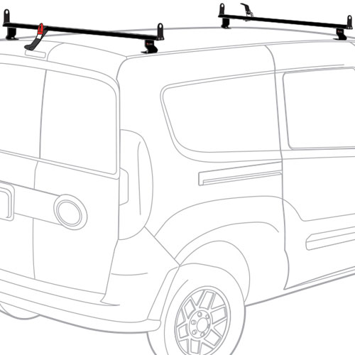 Vantech Dodge Ram ProMaster City Van 2015+ Aluminum 2 Bar 50 Utility Ladder Rack, Side Stops J2542