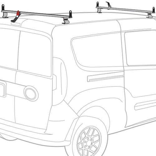 Vantech Dodge Ram ProMaster City Van 2015+ Aluminum 2 Bar 55 Utility Ladder Rack, Side Stops J2543