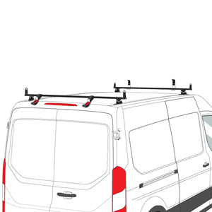 Vantech Ford Transit Cargo Van 2015+ Aluminum 2 Bar Heavy Duty Utility Ladder Rack H3712