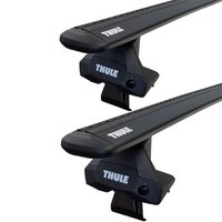 Thule Chevy Blackado 1500 Double Cab 2014 - 2018 Complete Evo Clamp Roof Rack with Black WingBars