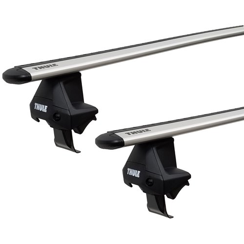 t710501cws Thule GMC Sierra 1500 Crew Cab 2014 - 2018 Complete Evo Clamp Roof Rack with Silver WingBars